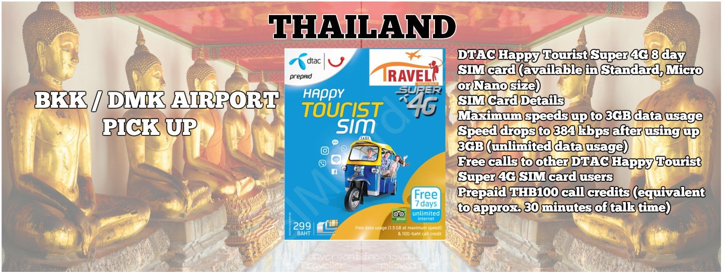 4G SIM Card (DTAC Counter at BKK/DMK Airport Pick Up) for Thailand - Tour