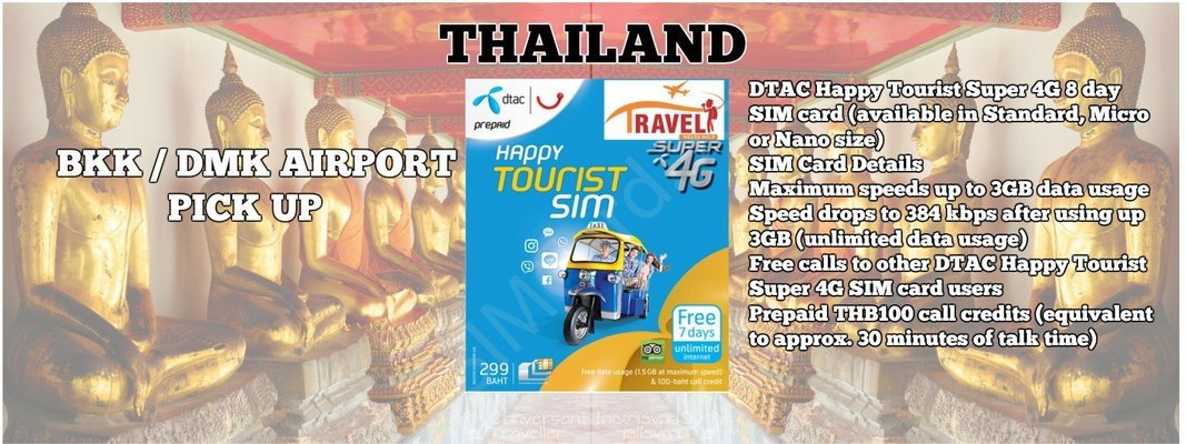 4G SIM Card (BKK/DMK/HKT Airport Pick Up from counter) for Thailand - Tour