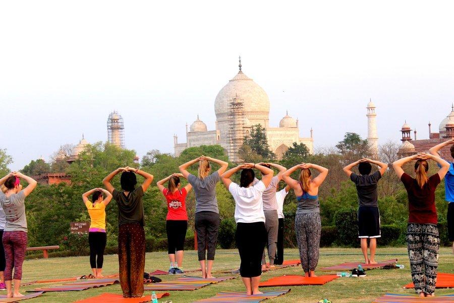 Yoga near the taj mahal