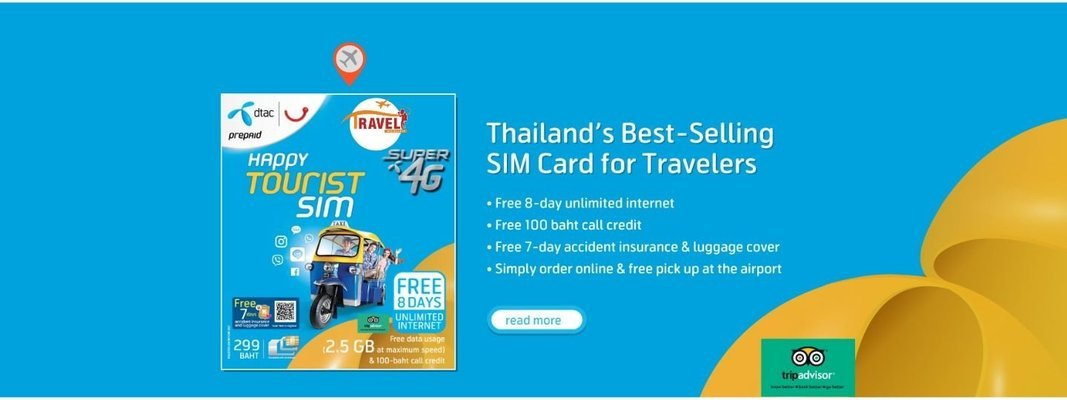4G SIM Card (Phuket HKT Airport Pick Up) for Thailand - Tour