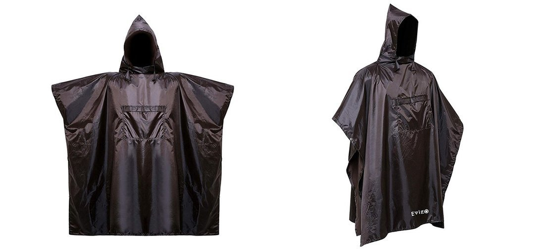 EVIZO Waterproof Rain Poncho (Black) - Tour